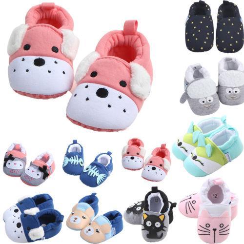 Brand Toddler Infant Baby Girls Boys Solid Soft Sole Prewalker Warm Cotton Cloth Shoes