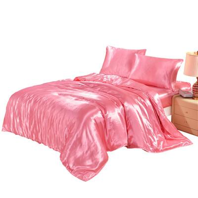 7 Colors US UK Size Artificial Silk Household Bedding Sets Bed Sheets Queen Bedding Sets King Size Comforter Set