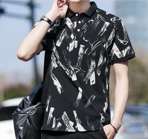 T-shirt manica corta da uomo estate camuffamento nuova moda cotone risvolto della gioventù casual che basa camicia vestiti di moda uomini