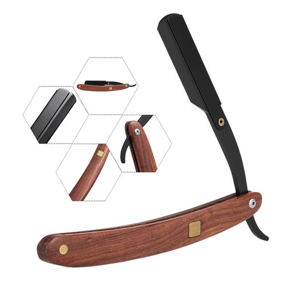 Rectas del acero inoxidable filo de la navaja de afeitar plegable del cuchillo de la maquinilla de afeitar del peluquero de madera mango de la herramienta de afeitar del afeitado de la barba facial pelo de la ceja