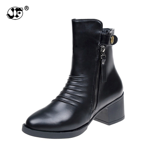 New Black Spring Boots Women Shoes Woman Short Plush Women Boots Zipper Pleat Leather Mid Calf Boots Zapatos Botas Mujer TGH89