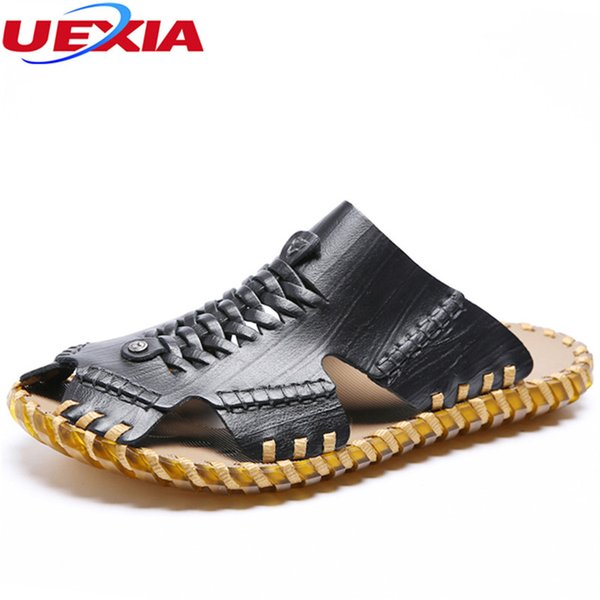 UEXIA New Fashion Summer Beach Breathable Men Sandals Sneakers Cool Leather Men's Sandals Man Casual Shoes Handmade Comfortable