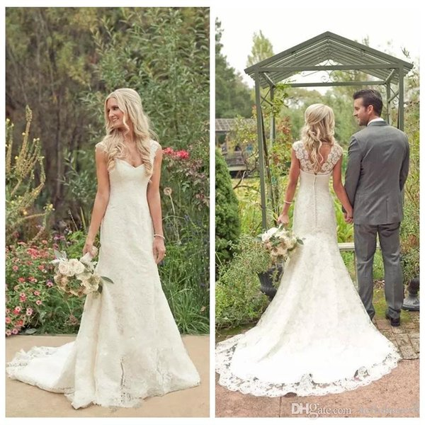 2019 New Cheap Lace Sweetheart Sheath Beach Country Wedding Dresses Bridal Gowns Modest Plus Size Wedding Gowns South Africa