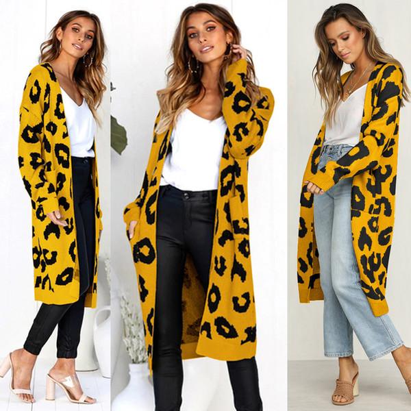 Weihnachten neuer Winter-Frauen-Leopard-Langarm-Druck gestrickten Pullover Tasche Ladies Open Stich Kimono Cardigan Außenstreet Mantel Tops