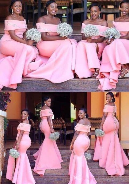 Primavera 2019 Africano dama de honra vestidos de rosa cor de pêssego cetim Off The Shoulder decote Sereia Sweep Trem Appliqued cetim vestidos de casamento