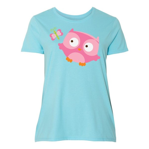 Inktastic Pink Owl And Butterfly Women's Plus Size T-Shirt Lover Birds Girls MyFunny free shipping Unisex Casual Tshirt