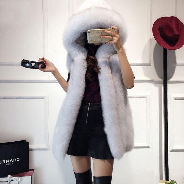 2019 Plus Size Fur Hood Vest Women Faux Fox Fur Vest Striped Long Gilet Ladies Sleeveless Rabbit Coat Winter Jacket