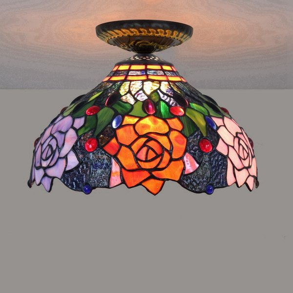 12 Inch Art Stained Glass Rose Shade Ceiling Light For Living Room Bed Room European Luxury Dinning Room LED Glass Rose Ceiling Lamps