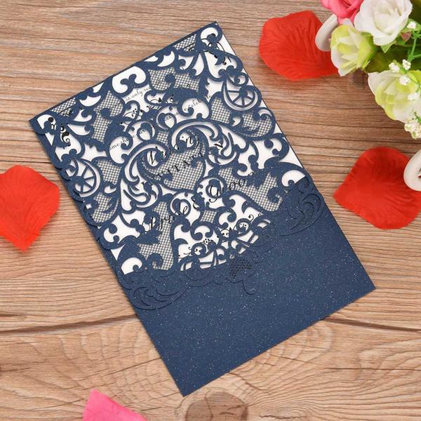 10pcs carta dell'invito di cerimonia nuziale carte dell'invito del partito Titolari floreali vuoti di carta della perla con lo strato interno in bianco