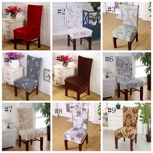 Spandex Housses de chaises CHAISE Housse Home Stretch Seat Case élastique Slipcover Hôtel Banquet de mariage Décoration florale 40 Conception DSL-YW1820