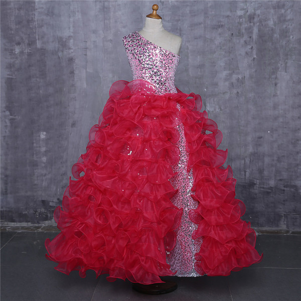 Ball Gown Hot Pink Girls Pageant Dresses One shoulder Organza Ruffles Sequined Long 2019 Kids Formal Prom Evening Party Dresses