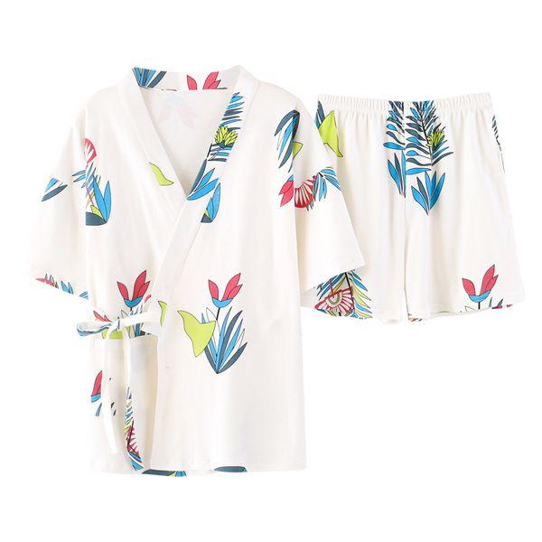 Japanese kimono summer women pajamas casual short sleeves pajamas set female sleepwear homewear suit 2 pcs plus size clothing