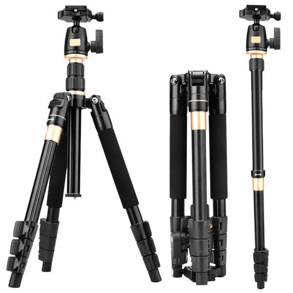 Q555 63-Zoll-professionelles tragbares Reise-Aluminiumkamerastativ mit 360-Grad-Kugelkopf für digitale SLR-DSLR-Kameras