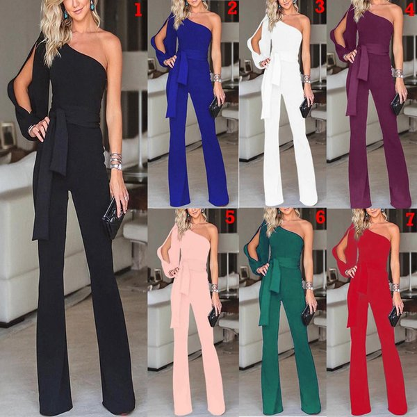 best selling Women Off Shoulder Jumpsuits 7 Colors Solid Party Clubwear Playsuits Wide Leg One Shoulder Long Trousers Pants OOA7014