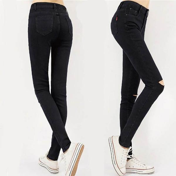 Women's Vintage Destroyed Ripped Jeans Women Skinny Denim Light Pencil Pants Stretch Jeans High Waist Slim Button Pockets Pants
