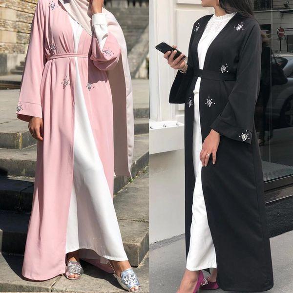best selling Modest Muslim Diamonds Beading Abaya Dubai Middle East Women Romadan Kimono Long Robe S-2XL with Belt