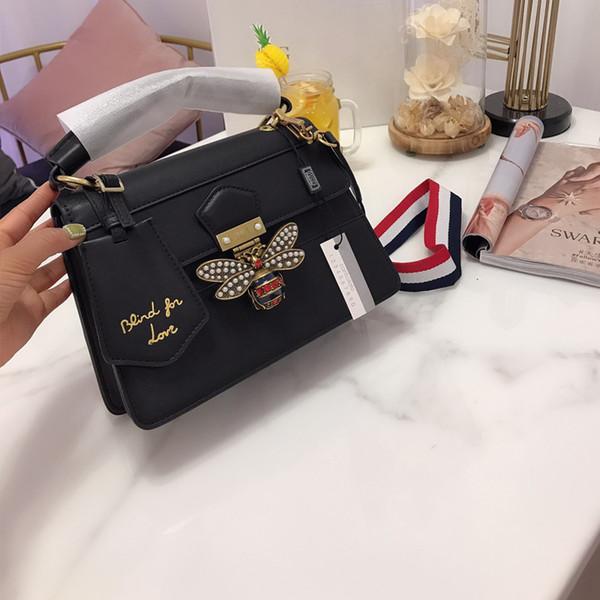 TS Margaret Kraliçe Renk Eşleştirme Arı Crossbody En Lüks Sokak Erkek Bayan Tasarımcı Çift Çanta Çantalar Omuz Çantası Siyah TSYSBB161