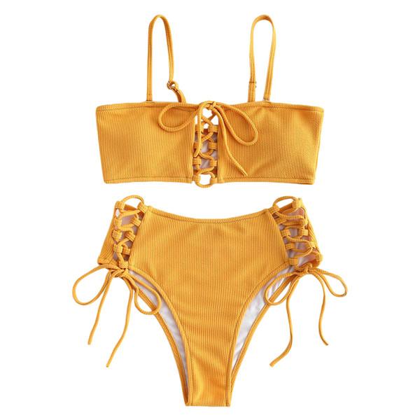 Costume da bagno a vita alta da donna Costumi da bagno bikini a gamba alta allacciati Costume da bagno giallo per donna 2019 Biquini Feminino