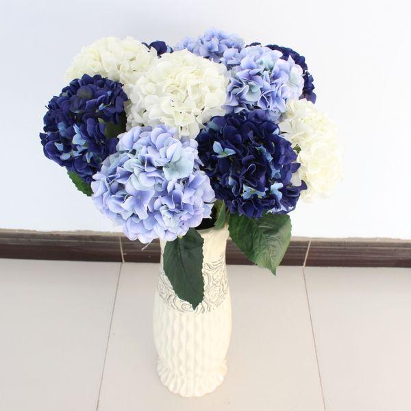 50pcs Faux Fleur Hortensia Fleurs Artificielles pour le Mariage Valentine Maison Salon Table Décoration De Mariée Bouquet De Mariée Soie Hortensia