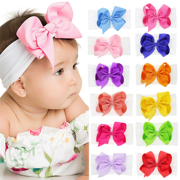 best selling Baby Girls Bow Headbands Kids Nylon elastic Bowknot Hairbands Hair Accessories Grosgrain Hair band turbon knot Headdress 12 Colors WKHA20