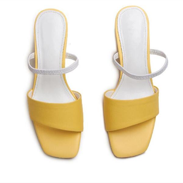 Sandaletler ve terlikler ile yaz yeni şekil, kadın giyim, yüksek topuk, deri sürükle, deri tembel yarım terlik, büyük boy