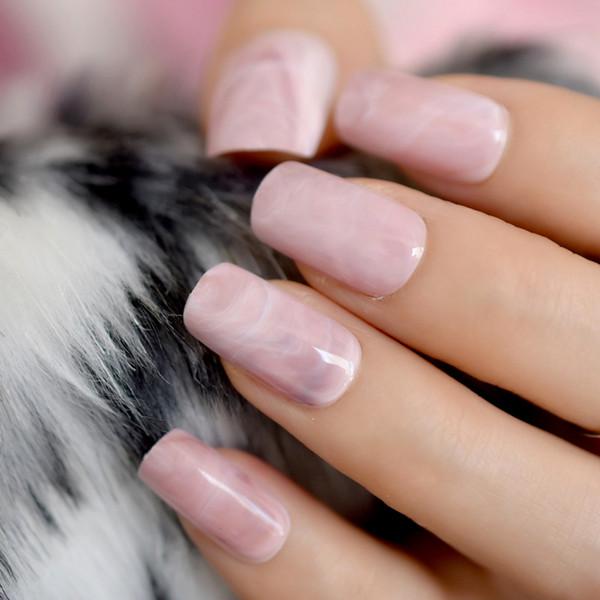 Tamaño mediano Mármol Nail Fake Square Pink Pink Ladies Acrylic DIY Nail Art Tips Pre-diseñado Nails con pegamento pegatina