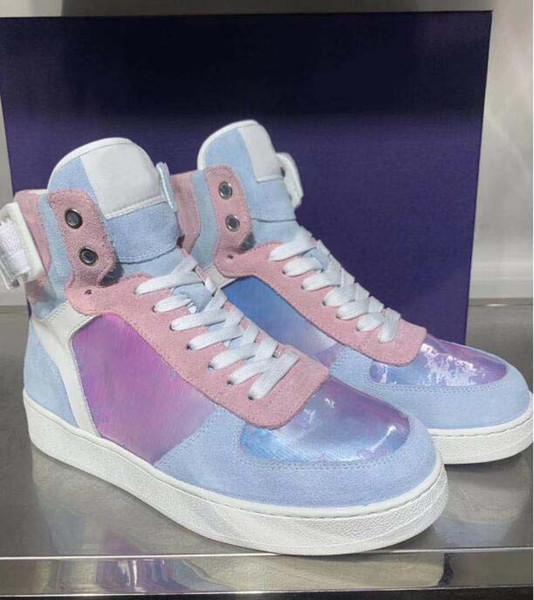Nueva Rivoli Sneaker Boot Mens Classic Rainbow Monogram High Top Sneakers Diseñador de lujo para entrenadores para hombres Senderismo al aire libre Escalada Prism 40