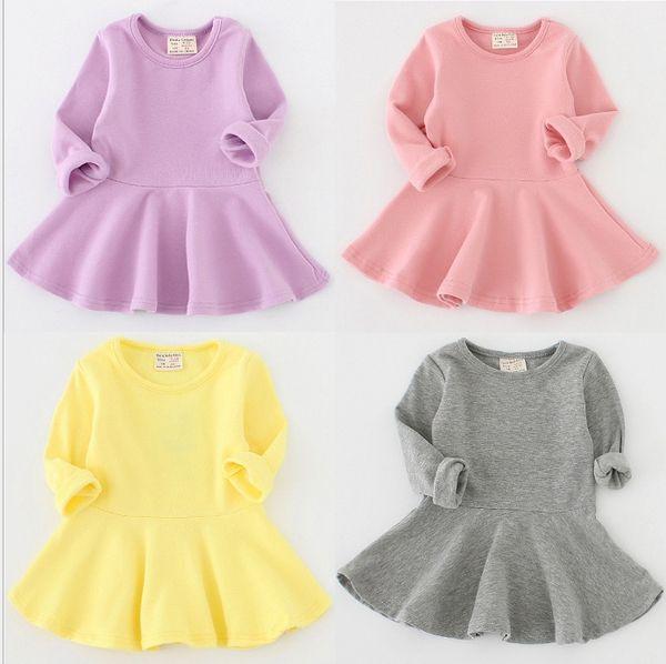 De los bebés simples vestidos largos de las mangas del algodón de la caída de 2019 para niños tienda de ropa 0-4T niñas vestidos de color sólido volante Oferta Especial