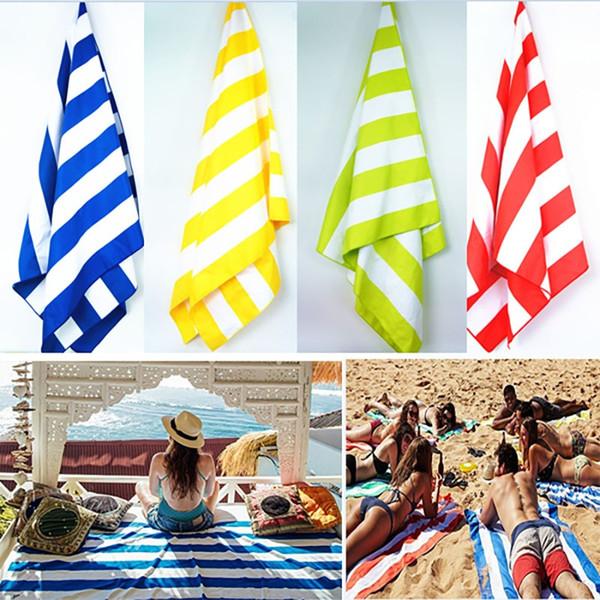 Toalla de playa de microfibra a rayas Bolsa suave Toalla de secado rápido para viajes Arena Playa Toalla ligera para acampar Playa Manta Regalos XD20196