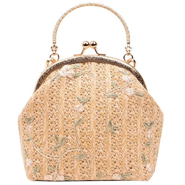2018 New Cute Shell Tote bag High quality Woven Handbags Sweet Lady Flower Clip Small bag Women bag Chain Shoulder Messenger BagFGDNFD