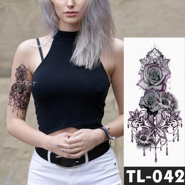 Tatuaggi temporanei falsi adesivi Fiori rosa scuri Tatuaggio spalla braccio Impermeabile donna Flash Tattoo su body art SH190724