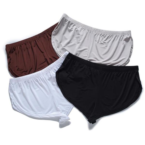 2019 Nouvelle Soie Boxer Sous-Vêtements Hommes Sexy Taille Basse Shorts Confort Doux Lâche Hommes Boxers Homme Slip Homme Garçon Vêtements De Nuit Vêtements De Nuit