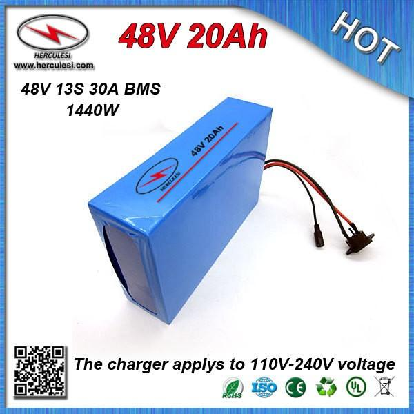 Hot selling battery 48V Electric Bike Battery 48V 20Ah Li ion Battery with PVC case Built in 13S 30A BMS + 2A CC/CV Charger