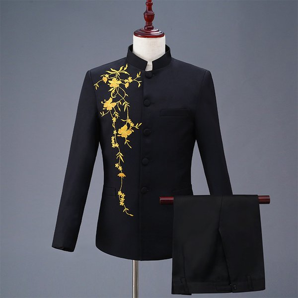 Embroidered Chinese Tunic Suit Collar Men Suits Wedding Blazers Slim Fit Male Suit Tuxedos Prom Business Groom Suits White 2 PCS