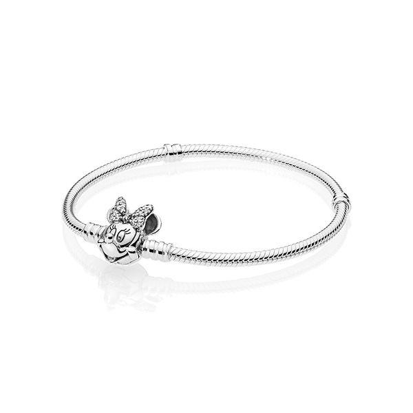 Shimmering little mouse Portrait BRACELET Set Original Box for Pandora 925 Sterling Silver 3mm Snake Chain Charm Bracelet Women Gift