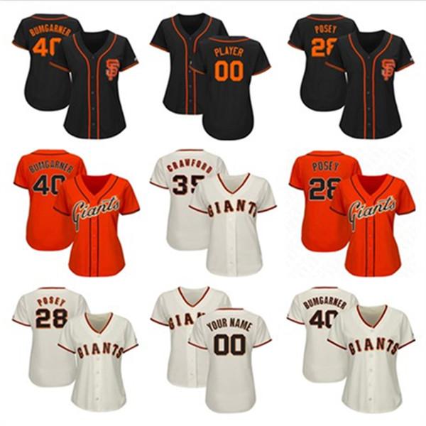 Womens Madison Bumgarner Jersey Custom Giants Stitched Hunter Pence Joe Panik San Francisco 2019 Baseball Player Jerseys