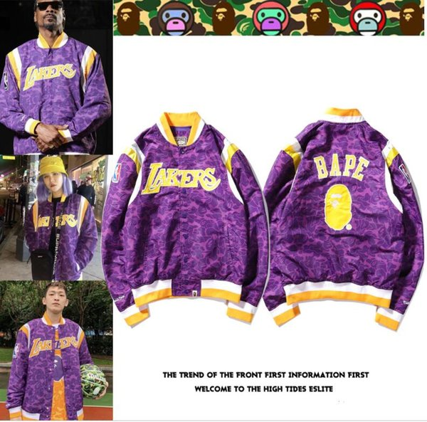 new women designers jackets Dfbape Harajuku hip hop windbreaker coat camouflage skateboard Purple shark baseball jackets