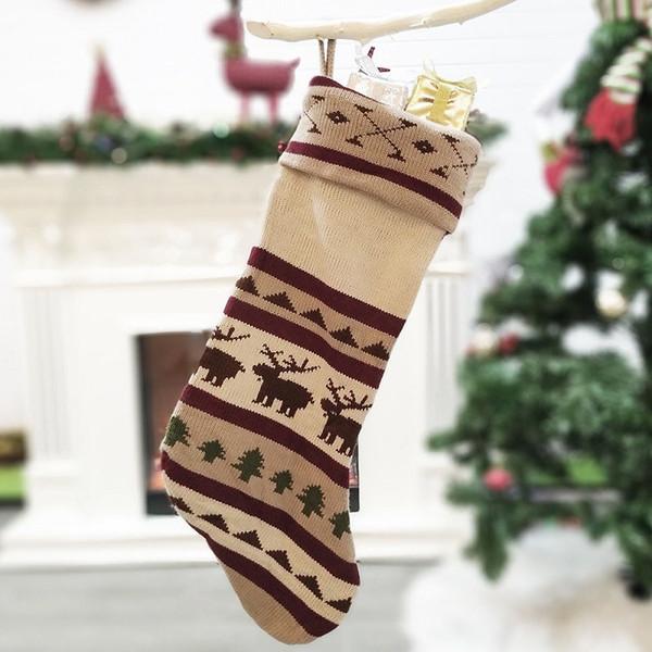 Chrismas Socking Sacchetto regalo Confezione regalo ciondolo albero di Natale verde lavorato a maglia Decor Candy Cookie Socks Home Festival Decorations 08