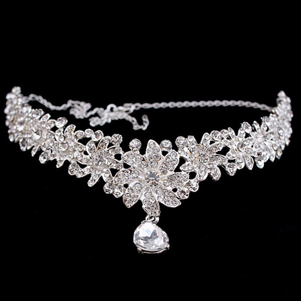 ccessories board Floral Bridal Crystal Headband Teardrop Rhinestone Forehead Head Pieces Women Indian Hair Jewelry Wedding Hair Chain Acc...