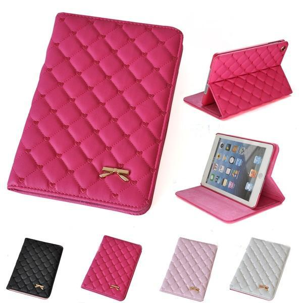 """Hoping Women Fashion iPad Case Bowknot Plaid Checks Luxury PU Leather Protector Case Cover For iPad 234 mini 1234 shell for 9.7"""""""