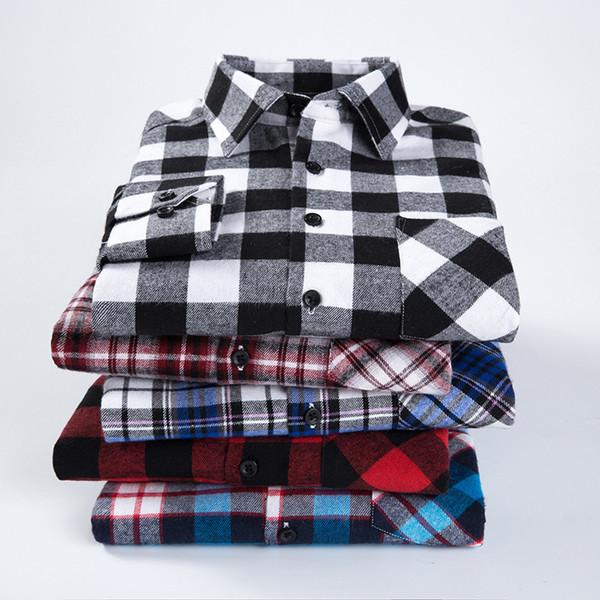 Camicia a quadri a maniche lunghe in flanella a quadri autunno autunno a quadri da uomo camicie casual da ufficio stile affari Q190514