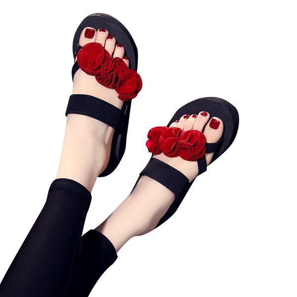 2019 Spring Autumn New Fashion Flip- flop Women Slip-on Open Toe Flower Wedges Color Puls size Soft Elegant Slipper Shoes