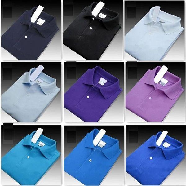 Nuevo 2019 Summer Men Luxury Cocodrilo de calidad superior camisas de polo de manga corta de algodón fresco Slim Fit Casual hombres de negocios camisas e5