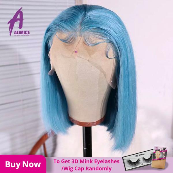 Bleu Bob perruque cheveux raides Bob Lace Front perruques de cheveux humains 150% Densité Alimice Brésil 13 * 4 Glueless humaine perruques de dentelle