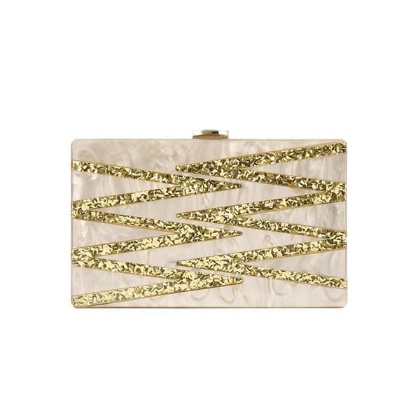 Nude Color Gold Pearl Geometrische Acryl Box Clutch Frauen Schulter Abend Messenger Handtaschen Acryl Box Geldbörse Gemeinsame Taschen # 512247