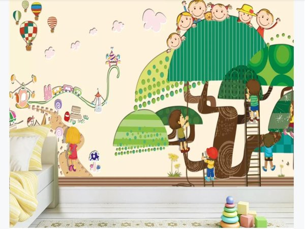 3D Wallpaper Custom Photo Silk Mural Wall Paper Children\'S Room Cartoon Big  Tree Park HD Wide Background Wall Paper For Walls 3d Wallpaper Border ...