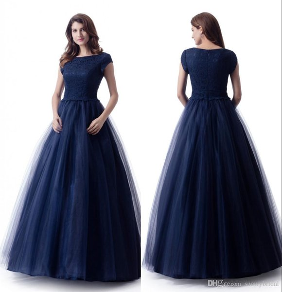Navy Blue Long Modest Prom Dresses 2019 With Short Sleeves Lace Top Tulle Skirt Puffy Teens Formal Prom Party Dresses Sleeved Custom Made