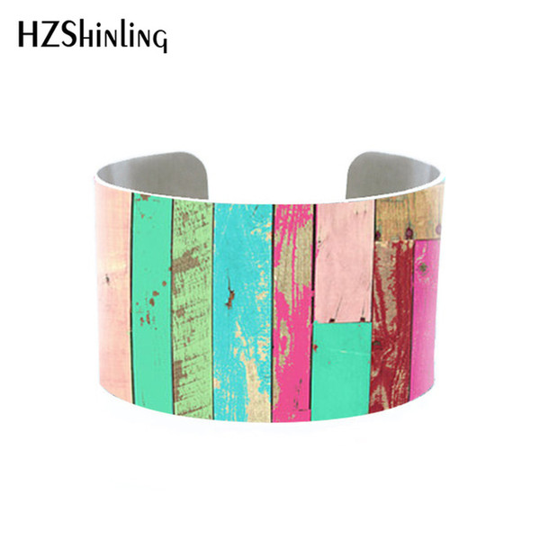 Reclaimed Wood Crackled Cuff Beachy blue bracelet Distressed Wood jewelry for woman Rustic Cuff Adjustable Metal Printed bangle