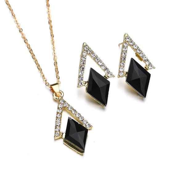 Triangle Crystal Jewelry Sets Black Geometric Pendant Necklace Drop Earrings Party Fashion Accessories For Women N1360