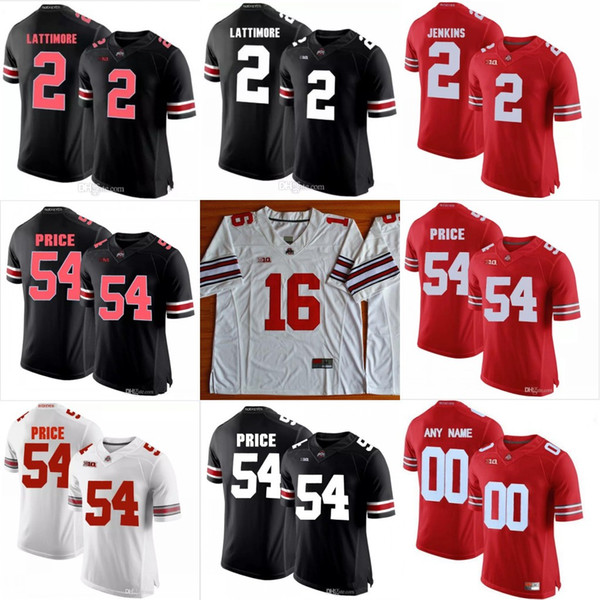 Ohio State Buckeyes # 2 Ryan Shazier Marshon Lattimore Malcolm Jenkins Cris Carter Camo negro rojo blanco cosido NCAA Jersey de fútbol americano